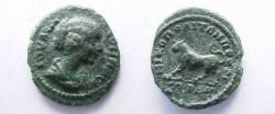 Ancient Coins - Julia Domna AE19 of Nikopolis ad Istrum.  Bull advancing left.