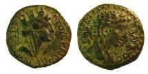 Ancient Coins - ASIA MINOR, Uncertain Caesarea. Claudius. AD 41-54./Veiled and draped bust of Tyche. VeryRare