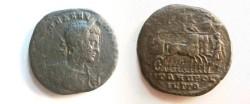 Ancient Coins - Macrinus AE26 of Nikopolis ad Istrum.  Emperor in quadriga right.