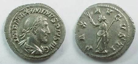 Ancient Coins - Maximinus I denarius.  PAX AVGVSTI, Pax standing left with branch & scepter.