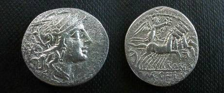Ancient Coins - Q Marcius, C Fabius & L Roscius Denarius.  Victory in quadriga right, holding wreath, ROMA below, Q•MAR•C•F•L•R in ex.