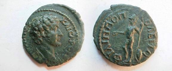 Ancient Coins - Marcus Aurelius AE20 of Philippopolis. Ares, helmeted, with spear and shield.