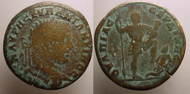 Ancient Coins - Caracalla AE30 of Serdica,The emperor in military dress standing with left foot kicking seated on the ground caprive.