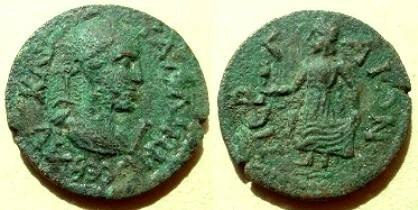 Ancient Coins - Gallienus AE29 (10 Assaria) of Perga, Pamphylia. Elpis (Spes) standing left, holding flower and hem of skirt.