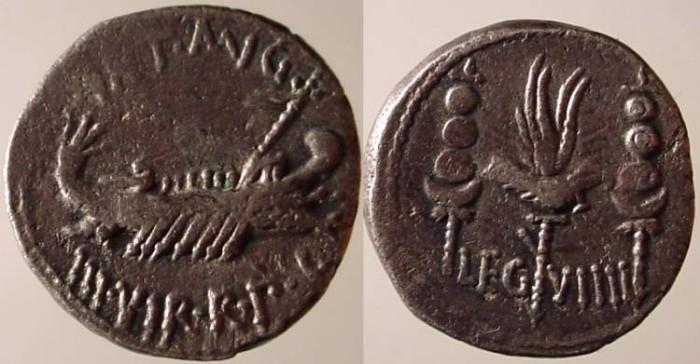 Ancient Coins - Mark Antony Legionary Denarius. 32-31 BC. Praetorian galley right / Legio IX Hispana