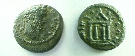 Ancient Coins - Septimius Severus AE17 of Nicaea, Bithynia.  Tetrastyle temple with dots in entablature and front.