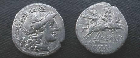 Ancient Coins - A Terentius Varro Denarius.   The Dioscuri riding right, C•TER•LVC below, ROMA in ex.