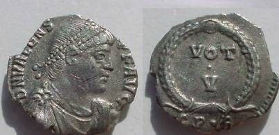 Ancient Coins - Valens AR Siliqua.  VOT V in two lines within wreath; CP•D in ex.