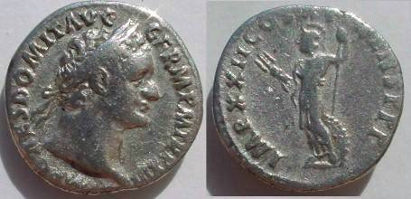 Ancient Coins - Domitian Denarius,  93-94 AD.  IMP XXII COS XVI CENS P P P, Minerva standing left with thunderbolt and spear, shield on ground to right.