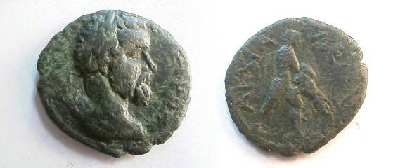 Ancient Coins - Septimius Severus AE20 of Anchialus. Hercules strangling the Namean lion.