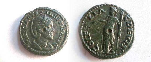 Ancient Coins - Otacilia Severa AE22 of Deultum, Thrace.  COL F L PAC DEVLTVM, Demeter standing left with corn ears and torch.