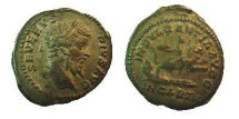 Ancient Coins - Septimius Severus. 193-211 AD. AR Denarius.Dea Caelestis with elaborate headdress, riding right on lion, holding thunderbolt and sceptre; below, water gushing from rock
