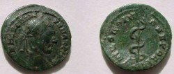 Ancient Coins - Macrinus AE18 of Nikopolis ad Istrum. Serpent climbing a club.