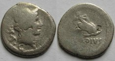 Ancient Coins - Mn. Cordius Rufus. 46 BC. AR Denarius.Cupid on dolphin right.