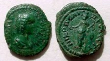 Ancient Coins - Julia Domna AE17 of Nikopolis. Concordia standing left with patera & cornucopiae.