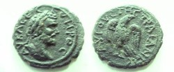 Ancient Coins - Septimius Severus AE19 of Augusta Traiana, Thrace.  Eagle standing on thunderbolt, head right.