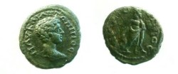 Ancient Coins - Caracalla AE20 of Nikopolis, Moesia Inferior.  Asklepius standing right, head left, with serpent-entwined staff.