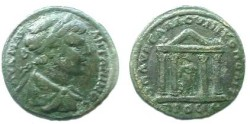 Ancient Coins - Caracalla AE28 of Nikopolis, Moesia Inferior.  Tetrastyle temple of Asklepius with peaked roof.