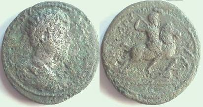 Ancient Coins - CILICIA, Syedra. Marcus Aurelius.Æ 35mm / Emperor on horseback right, riding down an enemy