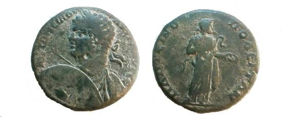 Ancient Coins - Caracalla AE26 of Plotinopolis, Thrace.  Hygeia standing right holding serpent, feeding it from patera.