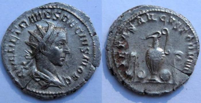 Ancient Coins - Herennius Etruscus AR Antoninianus.