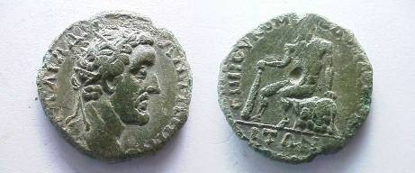 Ancient Coins - THRACE.TOPIROS. Antoninus Pius 138-161. Bronze,Herakles seated on a rock