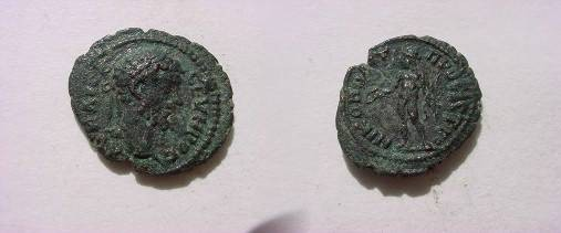 Ancient Coins - Septimius Severus AE18 of Nikopolis. Apollo, naked, standing left holding patera & branch.