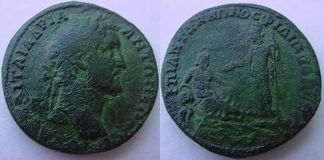 Ancient Coins - Antoninus Pius Æ 31mm of Philippopolis, Thrace. River god Marica, with lotus on his head, reclining right