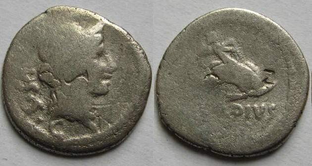 Ancient Coins - Mn. Cordius Rufus. 46 BC. AR Denarius.Cupid on dolphin right.