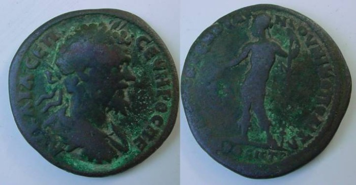 Ancient Coins - Septimius Severus Æ 27mm of Nikopolis ad Istrum. Dionysos standing left, holding large bunch of grapes & thyrsos;