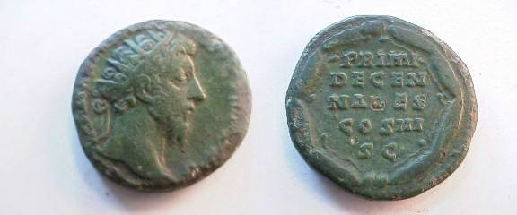 Ancient Coins - Marcus Aurelius AE Dupondius.  PRIMI DECEN NALES COS II S C in five lines within wreath.
