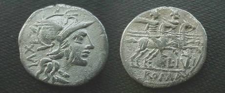 Ancient Coins - L Julius Denarius,  141 BC.  Dioscuri galloping right, L IVLI below, ROMA in ex.