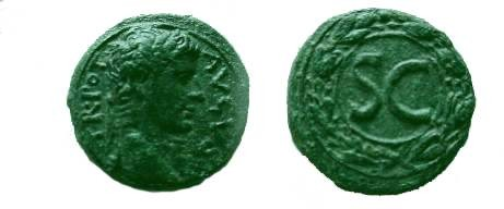 Ancient Coins - Augustus Æ28 (dupondius) of Cyprus Mint, IMP AVGVST TR POT, laureate head right / Large SC in wreath.  Large SC in wreath.
