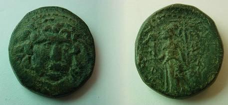 Ancient Coins - Macedonia, Amphipolis, AE22. 1st-3rd Century AD. Winged gorgon's head facing