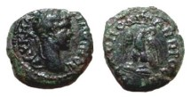 Ancient Coins - Caracalla AE17 of Nikopolis ad Istrum.  Eagle standing facing on thunderbolt, head right, wreath in its beak.