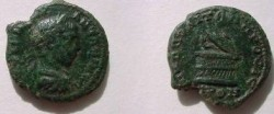 Ancient Coins - Elagabalus AE18 of Nikopolis ad Istrum. Serpent emerging from half-opened cista.