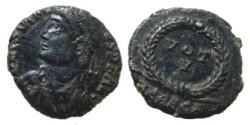 Ancient Coins - Jovian AE3 Follis.  VOT V in wreath, HERACA in ex.