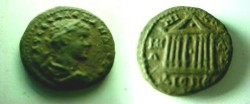 Ancient Coins - Severus Alexander AE20 of Nicomedia, Bithynia.  Octostyle temple with triangular pediment.