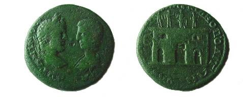 Ancient Coins - Caracalla & Julia Domna AE27 of Markianopolis. City gate with three doors and two windows, statues of the Imperial Family above.