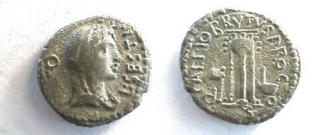Ancient Coins - Brutus Denarius.  Draped bust of Libertas right / Q CAEPIO BRVTVS PRO COS, tripod between sacrificial ax and simpulum, all within beaded border.