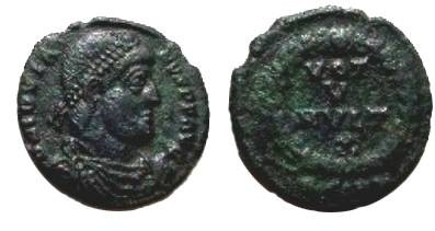 Ancient Coins - Jovian AE3.  VOT V MVLT X, four lines within wreath, HSIRM below.
