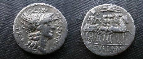 Ancient Coins - L Cornelius Sulla & L Malius AR Denarius,  82 BC.  Triumphator in quadriga right, crowned by Victory, L SVLLA IMP in ex.