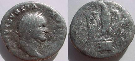 Ancient Coins - Vespasian Denarius.  COS VII, Eagle standing on an altar, head left.