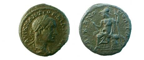 Ancient Coins - Gordian III AE26 Pentassarion of Markianopolis.  Roma seated left on cuirass holding Victory & scepter.