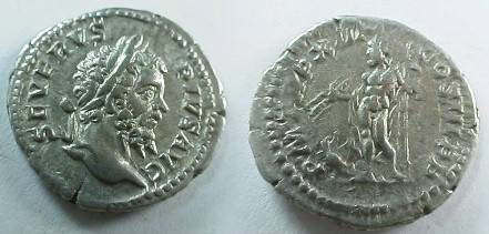 Ancient Coins - Septimius Severus Denarius,  205 AD.  P M TR P XIII COS III P P, Jupiter standing left holding thunderbolt & scepter, eagle at foot left.