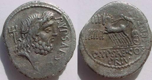 Ancient Coins - P Plautius Hypsaeus Denarius, 60 BC. Jupiter in quadriga left