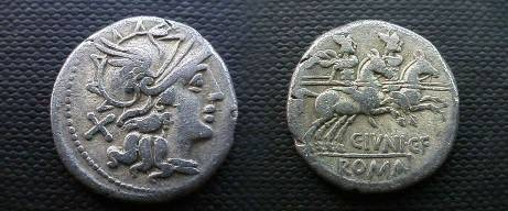 Ancient Coins - Caius Junius Caii filius Denarius.  the Dioscuri galoping right with spears, C IVNI CF beneath, ROMA in ex.