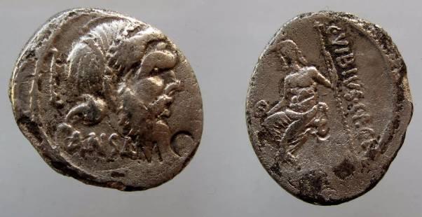 Ancient Coins - C Vibius Cf Cn Pansa Caetronianus Denarius, 48 BC. ,Mask of Pan /Jupiter Axurus.