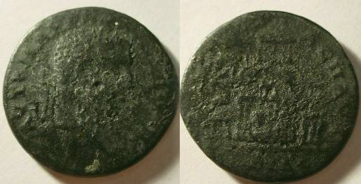 Ancient Coins - Caracalla AE29 of Pautalia,view of the agora of Pautalia with six temples, Three Graces to right and a reclining river god