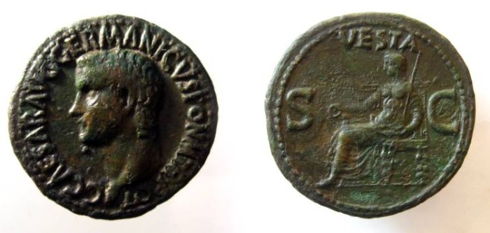 Ancient Coins - Gaius Caligula Æ As. Struck 37-8 AD. Vesta seated left, holding patera and sceptre